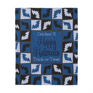 Halloween Themed Halloween bat mosaic fleece blanket