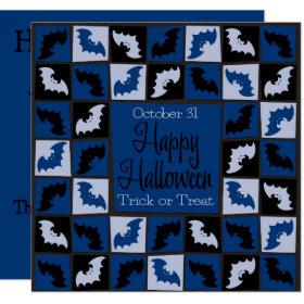 Halloween bat mosaic invitation