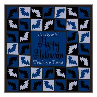 Halloween bat mosaic poster