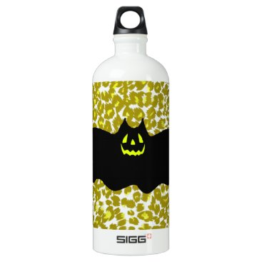 Halloween Themed Halloween Bat On Golden Leopard Spots Aluminum Water Bottle