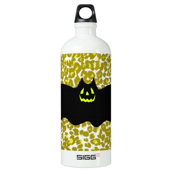 Halloween Bat On Golden Leopard Spots Aluminum Water Bottle