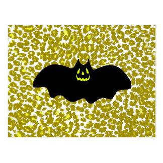 Halloween Bat On Golden Leopard Spots Postcard