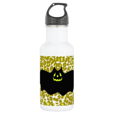 Halloween Themed Halloween Bat On Golden Leopard Spots Water Bottle