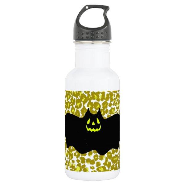 Halloween Bat On Golden Leopard Spots Water Bottle