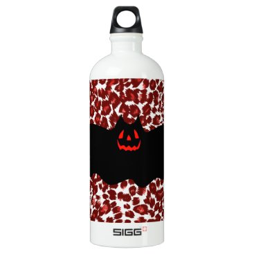 Halloween Themed Halloween Bat On Red Leopard Spots Aluminum Water Bottle