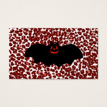 Halloween Themed Halloween Bat On Red Leopard Spots Business Card