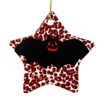 Halloween Themed Halloween Bat On Red Leopard Spots Ceramic Ornament