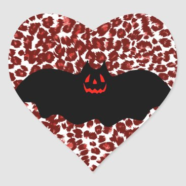 Halloween Themed Halloween Bat On Red Leopard Spots Heart Sticker