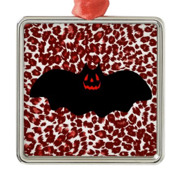 Halloween Themed Halloween Bat On Red Leopard Spots Metal Ornament