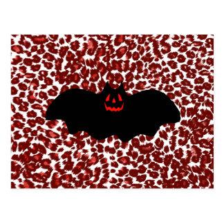 Halloween Bat On Red Leopard Spots Postcards