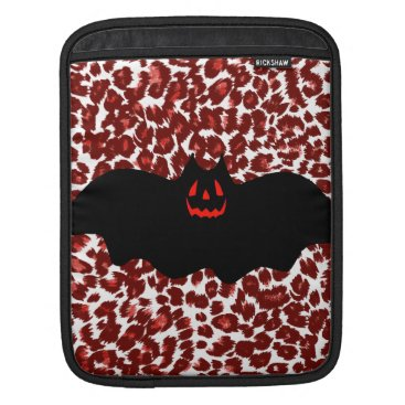 Halloween Themed Halloween Bat On Red Leopard Spots Sleeve For iPads