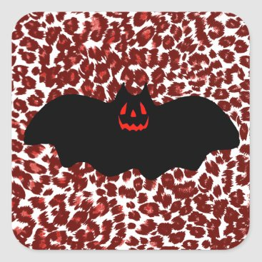 Halloween Themed Halloween Bat On Red Leopard Spots Square Sticker