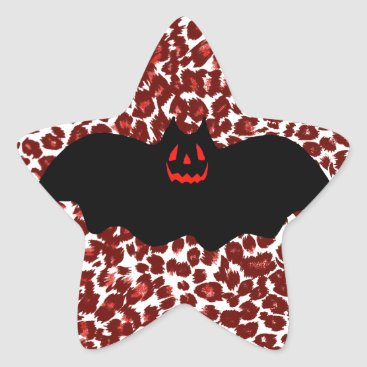 Halloween Themed Halloween Bat On Red Leopard Spots Star Sticker