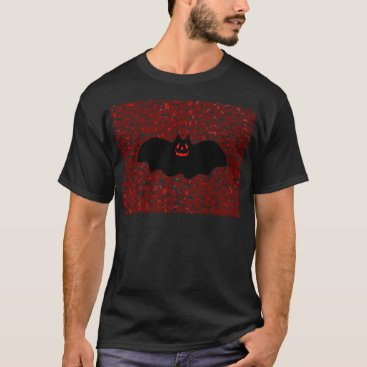 Halloween Themed Halloween Bat On Red Leopard Spots T-Shirt