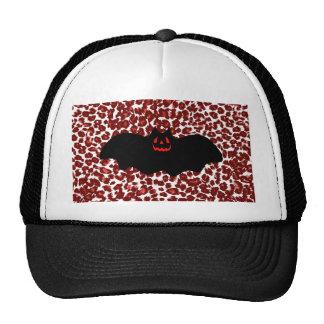 Halloween Bat On Red Leopard Spots Trucker Hat