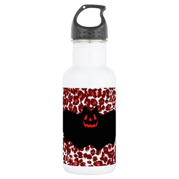 Halloween Bat On Red Leopard Spots Water Bottle