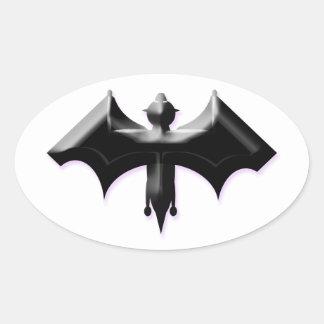 Halloween Bat Oval Sticker