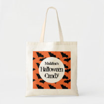 Halloween Bat Pattern Personalized Black Treat Tote Bag