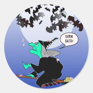 Halloween bat poop with witch classic round sticker