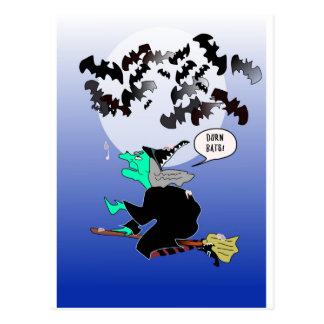 Halloween bat poop with witch postcard