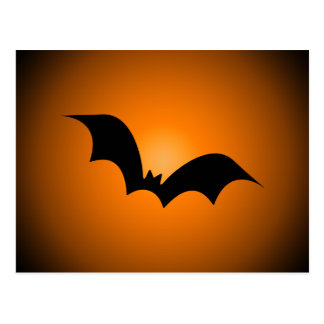 Halloween Bat Silhouette Orange Sky Postcard