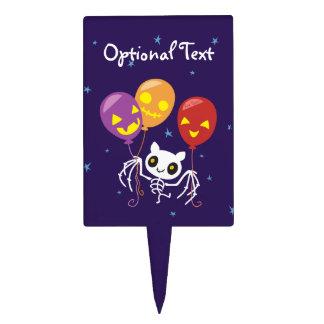 Halloween Bat Skeleton Flying With Balloons Cake Topper