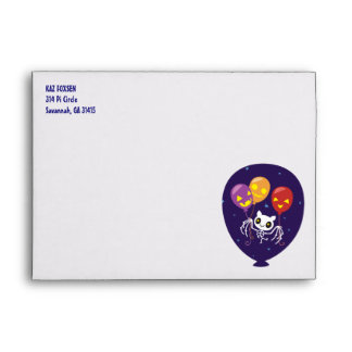 Halloween Bat Skeleton Flying With Balloons Envelope