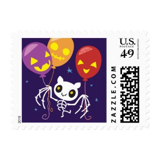 Halloween Bat Skeleton Flying With Balloons Postage