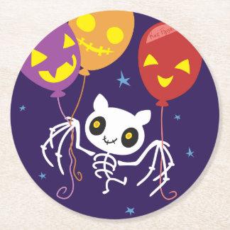 Halloween Bat Skeleton Flying With Balloons Round Paper Coaster