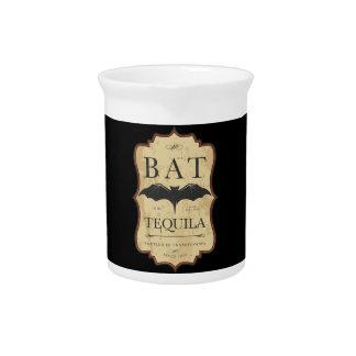 Halloween Bat Tequila Vintage Label Pitcher