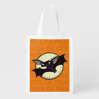 HALLOWEEN BAT TRICK OR TREAT REUSABLE TOTE BAG REUSABLE GROCERY BAGS