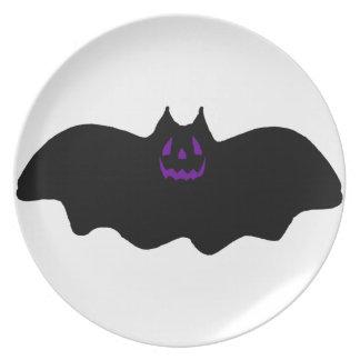 Halloween Bat w/Purple Face Party Plates