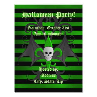 Halloween bat winged skull fleur de lis green flyer