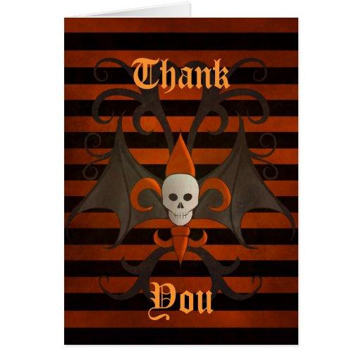 Halloween bat winged skull fleur de lis orange greeting cards