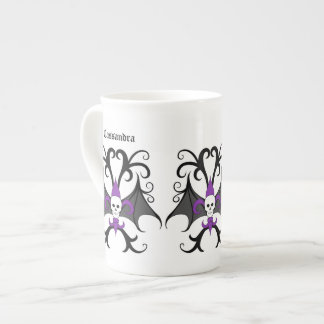 Halloween bat winged skull fleur de lis purple tea cup