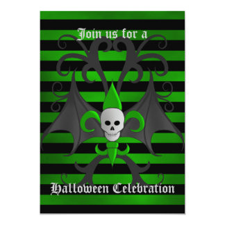 Halloween bat winged skull party card