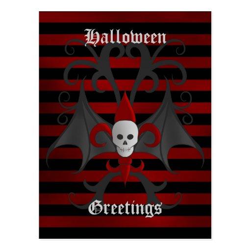 Halloween bat winged skull with red fleur de lis postcards