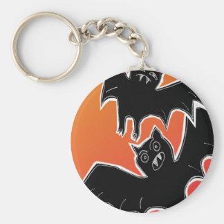 Halloween Bats 2 Basic Round Button Keychain