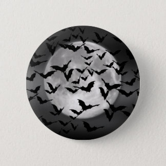 Halloween Bats And A Full Moon Pinback Button