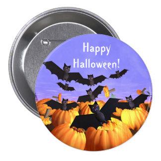 Halloween Bats and Pumpkins Button