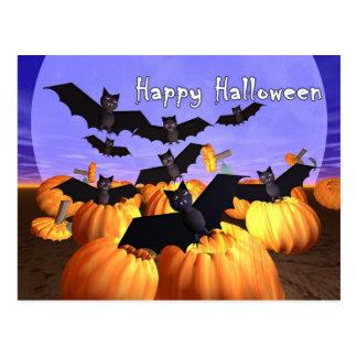 Halloween Bats and Pumpkins Postcard