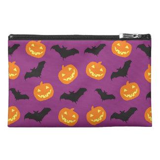 Halloween Bats & Carved Pumpkins on Purple Travel Accessories Bag