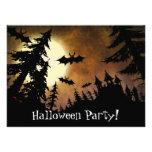 Halloween Bats, Castle and Moon Invitations