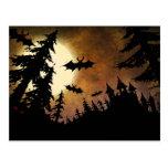 Halloween Bats, Castle and Moon Postcard