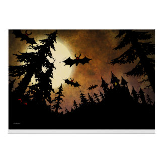 Halloween Bats, Castle and Moon Poster