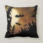 Halloween Bats, Castle and Moon Throw Pillow