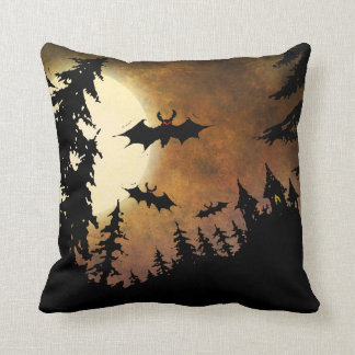 Halloween Bats, Castle and Moon Throw Pillow