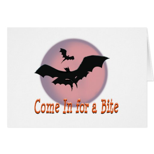 Halloween Bats Come In for a Bite Greeting Card