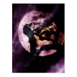 Halloween Bats Flying on a Full Moon Night Postcards