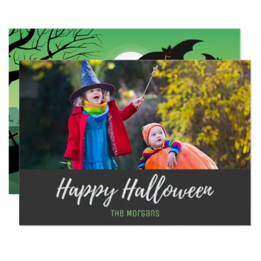 Halloween Themed Halloween Bats Graveyard Zombies Photo Card